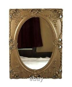 Antique Oval Wall Mirror Gold Decorated Gesso French Baroque Style Frame