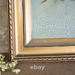 Antique Roses Floral oil on Canvas Paintings Gilt Gold Frames Wall Art Pair
