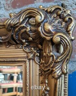 Antique Style Bevelled Ornate Mirror Gold Wooden Wall Mantle Mirror Vintage