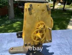 Antique Weight Driven Seth Thomas #2 Wall Regulator Clock Movement & Frame Runs