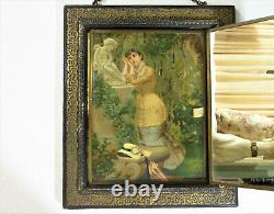 Antique Wood Framed Hand Painted Tri-fold Wall Mirror