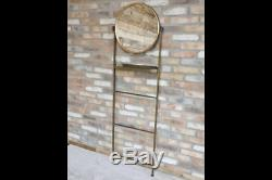 Antiqued Gold Bronze Metal Frame Wall Mounted Round Mirror Shelf & Rung Stand