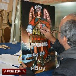 Archangel Michael Painting, Wall Art Peru Folk Art- Gold Handcarved Wood Frame