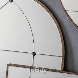 Ariah Large Antique Gold Metal Frame Arched Rustic Wall Mirror H140cm x W76cm
