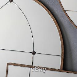 Ariah Large Antique Gold Metal Frame Round Rustic Wall Mirror 35.5 Diameter