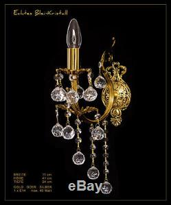 Art Nouveau Crystal Wall Lamp Real Crystal and Metal Frame, Gold O