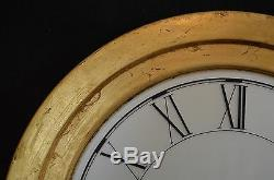 Arti & Mestieri Design Round Roman Numeral Wall Clock with Distressed Gold Frame