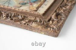 Artini Sculptured Engraving Art 4 Dimensional Scrub Brush Maker Gold Gilt Frame