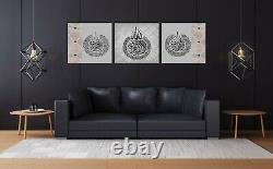 Ayatul Kursi 3 Panel Canvas Set-Islamic Wall Art Canvas in Grey Rose Gold Crysta
