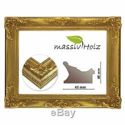 Baroque frame gold, decorated over corner without glass and back wall