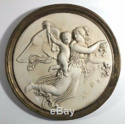 Bas Relief Angel With Baby Plaster Wall Decor Gold Gilt Frame GORGEOUS & RARE