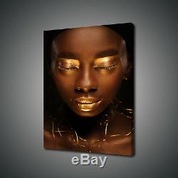 Beautiful African Gold Woman Portrait Canvas Print Wall Art Picture Photo