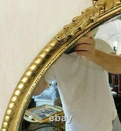 Beautiful Large Antique/Vintage 34 Ornate Round Gold Wood Framed Wall Mirror