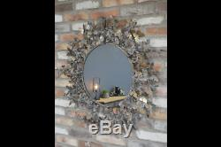 Beautiful Large Metal Wall Mirror With Butterfly Bronzed Surround