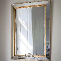 Bewley Gold Edge Frame Overmantle Large Bevelled Glass Wall Mirror 44 x 32