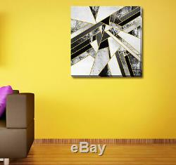 Black Grey White Gold Stretched Canvas Print Framed Wall Art Home Office Decor