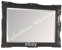 Black Shabby Chic Ornate Decorative Carved Wall Mirror 37.5 x 27.5 NEW
