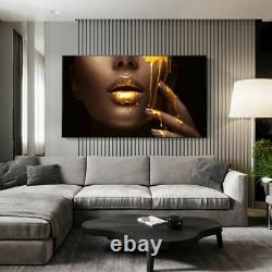 Black Women Face With Golden Canvas Print Poster Modern Wall Art Pictures Room