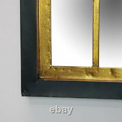 Black & gold rectangle metal frame wall mirror geometric art deco living room