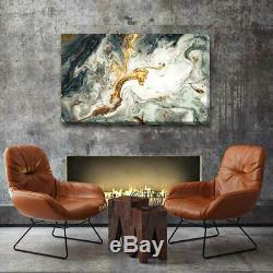 Black white gold Abstract Stretched Canvas Print Framed Wall Art Home Decor A390
