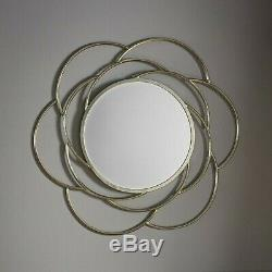 Bloomsbury Large Unique Round Champagne Gold Metal Frame Wall Mirror 91cm