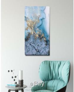 Blue Gold Canvas Print Framed Wall Art Hanging Home Office Shop Bar Decor A357