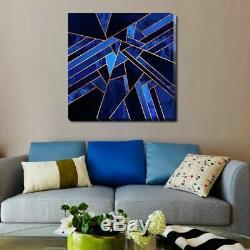 Blue Gold Geometric Stretched Canvas Print Framed Wall Art Home Office Decor