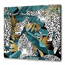 Blue Green Gold Tropical Banana Leaves Jaguars Canvas Print Wall Art Picture