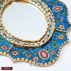 Blue Oval wall Mirror with gold leaf wood frame, Peruvian Ornate Accent Mirror