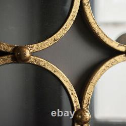 Bradbury Unique Gold Leaf Round Mirrored Circles Modern Wall Mirror 27 x 27