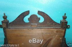 CLASSIC ANTIQUE-Early 1900s Wood SHELF MIRROR Unit-OVERMANTLE-35X 34 9KG