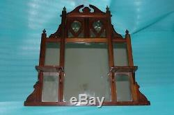 CLASSIC ANTIQUE-Early 1900s Wood SHELF MIRROR Unit-OVERMANTLE-35X 34 9KG
