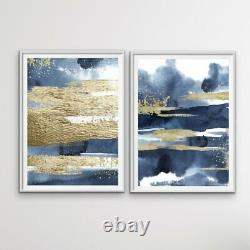 Calm With Gold Two Piece Hamptons Blue Watercolour Wall Art Print s Artwork