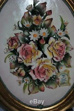 Capodimonte Italy Porcelain Flower Rose Bouquet Gold Framed Wall Plaque