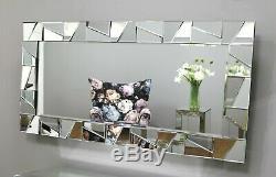 Cassa Silver Modern Rectangle Facet Wall Mirror 3 Size Options