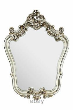 Champagne Finish Rose Crest Wall Mirror Distressed champagne frame