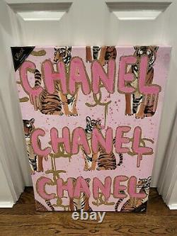 Chanel X Oliver Gal Tiger Gold Glitter Pink Wall Art Canvas 20 x 28 Rare