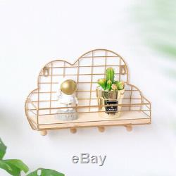 Cloud Shape Mesh Wire Metal Storage Shelves Wall Frame Hanging Rack Home Decor
