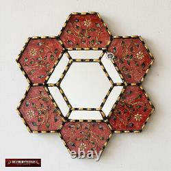 Collection Hexagon Wall Mirror 11.8 set of 3, Handpained glass mirror for wall