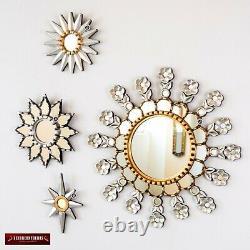 Collection Silver & Gold Sunburst Round Mirror set 4, Accent Sunburst Wall Mirro