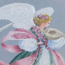 Complete Cross Stitch Lavender & Lace Beaded Angel Violin Gold Framed Wall Art