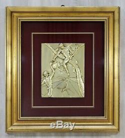 Contemporary Framed Salvador Dali Bas Wall Relief Gold Dipped Silver'86 Peccato
