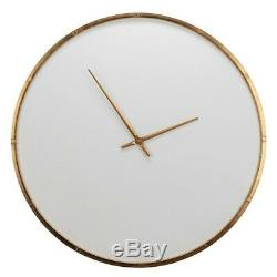 Cooper Classics Wade Wall Clock, Modern White with Golden Frame 41481