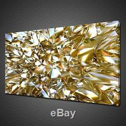 Crystal Clear Gold Glass Abstract Canvas Picture Print Wall Art Modern Design