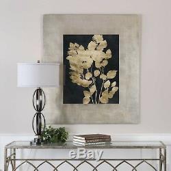 Custom Postage Leave Modern Gold Foil Print Under Glass Wide Frame Wall Art