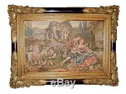 (D) Old-Fashioned Gilded Picture Frame 38 x 28 inch, Baroque Wall Hanging Frame