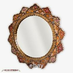 Decorative Round Mirror 23.6, Peruvian Painting on glass, Wall Accent Mirrors