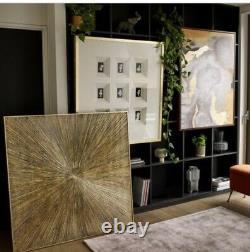 Dwell Contemporary Abstract Wall Art Metallic Gold, Grey Multi Colour