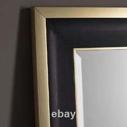 Edmonton Black Frame Gold Edge Full Length Leaner Mirror Wall Hung 156cm X 79cm