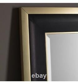 Edmonton Black Frame Gold Edge Full Length Leaner Mirror Wall Hung 61 x 31